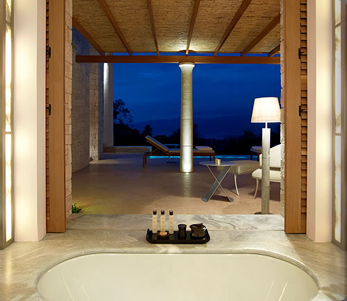 Amanzoe deluxe or pool pavilion bathroom