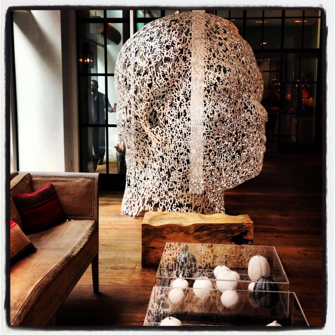 Lobby Crosby Street Hotel - Jaume Plensa steel sculpture
