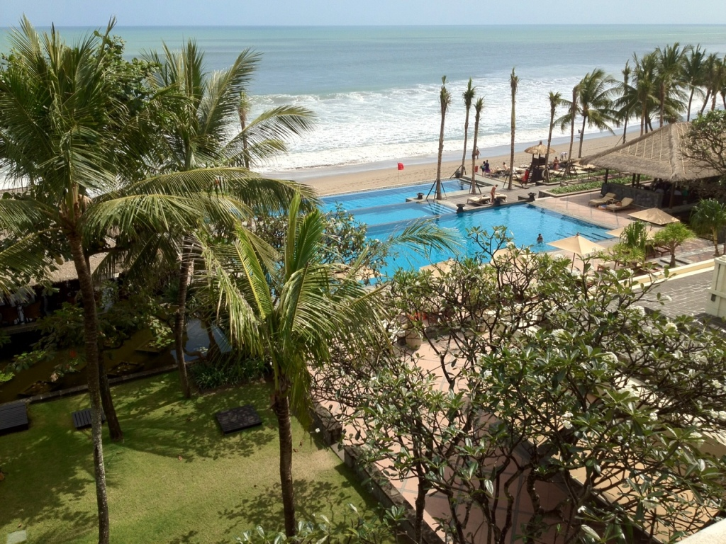 Beach view from my suite at The Legian