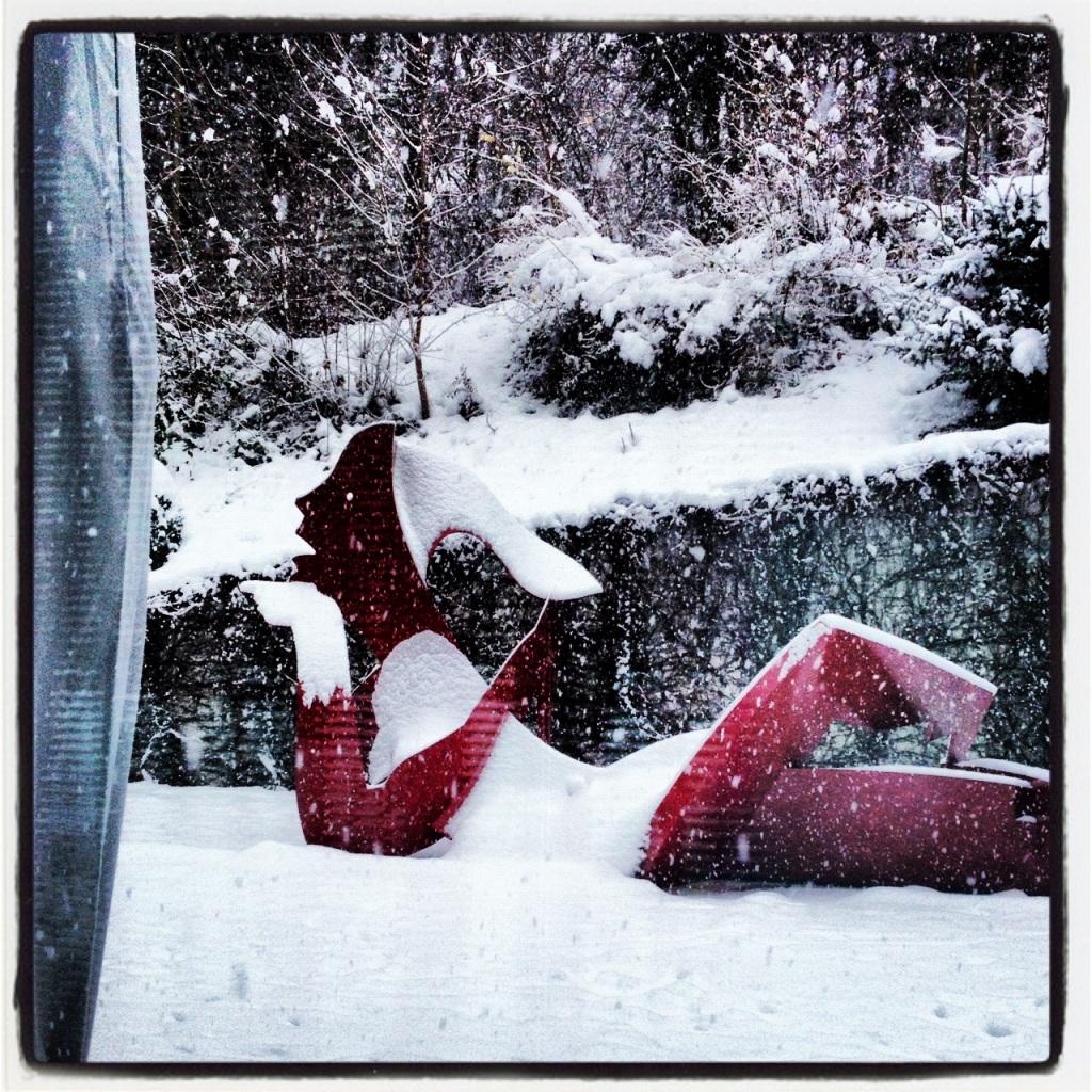 Outdoor art intsallation under snow at The Dolder Grand