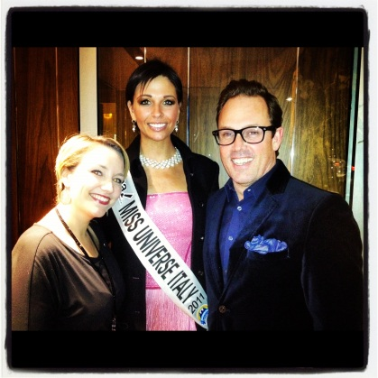 Brent and Caroline Courteau of Lungarno Hotels with Italy's Miss Universe