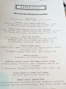 NYE Degustation Menu STILLwater
