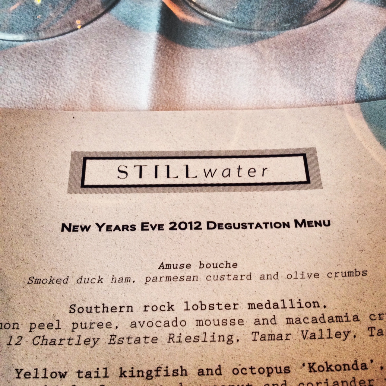 Stillwater - New Years Eve Menu