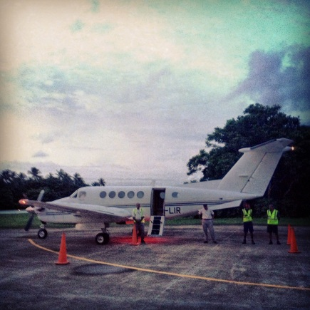 King Air aircraft ready to whisk me back to Nadi