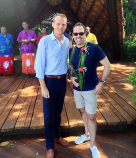 Brent with Vincent on arrival Laucala Island