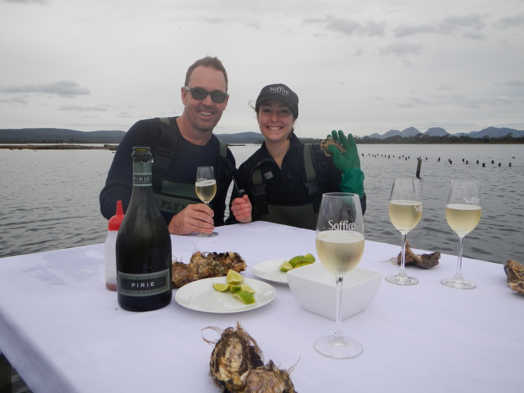 Civilised oyster shucking Tasmania!