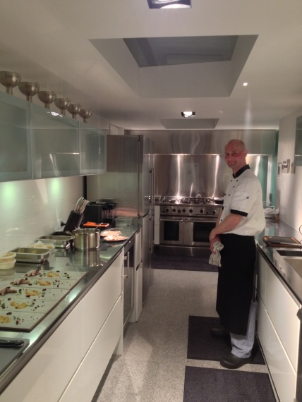 Chef Keith in the pristine kitchen at Rahimoana - Eagles Nest