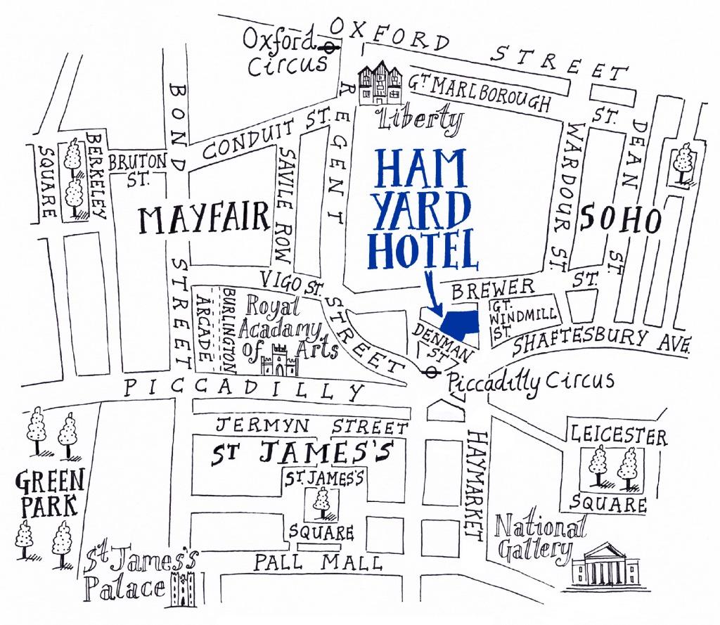 Ham Yard Hotel Location Map Blue